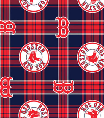 Boston Red Sox Fleece Fabric 58''-Plaid