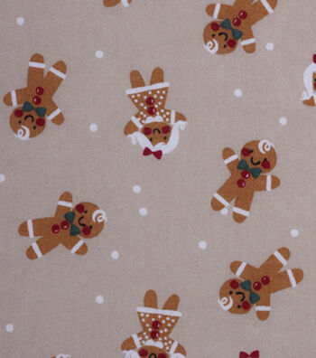Holiday Showcase™ Christmas Cotton Fabric 43''-Gingerbread on Gray