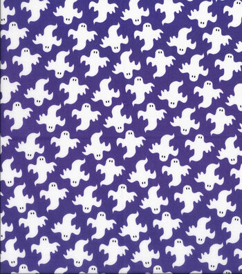 Holiday Showcase™ Halloween Cotton Fabric 43''-Large Ghosts on Purple