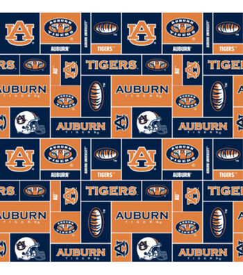 Auburn University Tigers Fleece Fabric 58''-Block