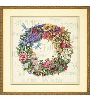 Dimensions Counted Cross Stitch Kit-Wreath of All Seasons