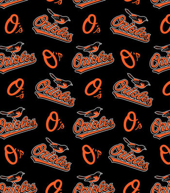Baltimore Orioles Fleece Fabric 58''-Tossed