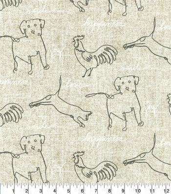 Ellen DeGeneres Upholstery Fabric 54''-Parchment Happy Animals