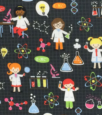 """Novelty Cotton Fabric 44""""-Girl Science on Black"""