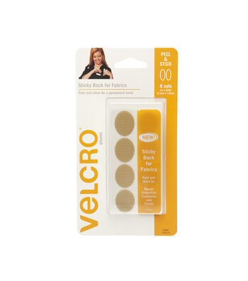 VELCRO® Brand Sticky Back for Fabrics,1 in x 3/4 in ovals, beige, 8sets