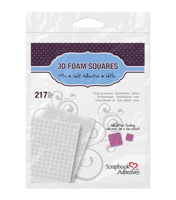 Scrapbook Adhesives 3D Foam Squares Assortment-217PK/Black or White