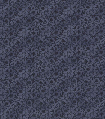 Vintage Cotton Fabric 43''-Blue Tonal Vines