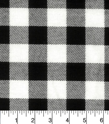 """Snuggle Flannel Fabric 42""""-Black White Buffalo Check"""