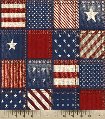Patriotic Patched Print Fabric