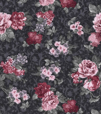 Vintage Cotton Fabric 43''-Small Bouquet on Navy