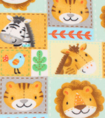Nursery Fleece Fabric 59''-Zoo Animal Patchwork