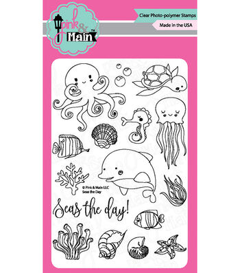 "Pink & Main Clear Stamps 4""X6""-Seas The Day"