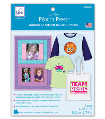 June Tailor Print 'n Press Transfer Paper-Ink Jet 3/Pkg