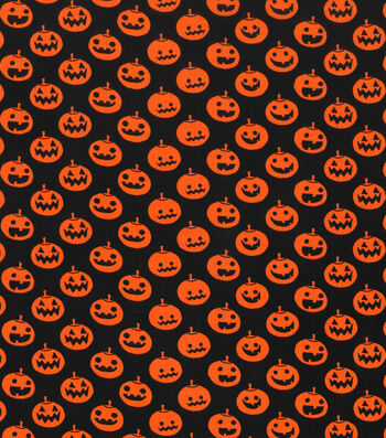 Holiday Showcase™ Halloween Cotton Fabric 43''-Large Pumpkins on Black