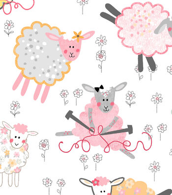 "Snuggle Flannel Fabric 43""-Knitting Sheep"