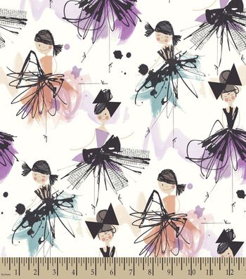 Watercolor Ballerinas Print Fabric