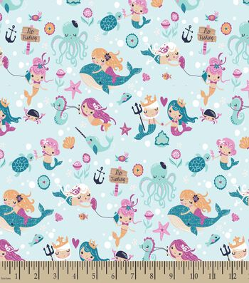 Pretty Mermaids Print Fabric