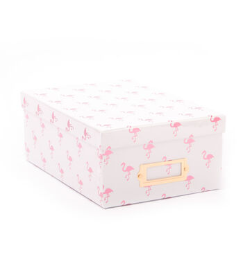 DCWV Photo Storage Box-Pink Flamingos with Pink Foil