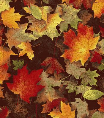 "Harvest Cotton Fabric 44""-Maple Leaves Chocolate"