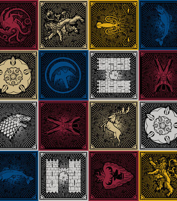 "Game Of Thrones Cotton Fabric 43""-House Sigils"