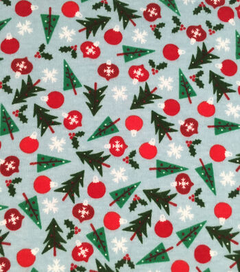 "Doodles Holiday Interlock Cotton Fabric 57""-Trees Bulbs Snowflake"