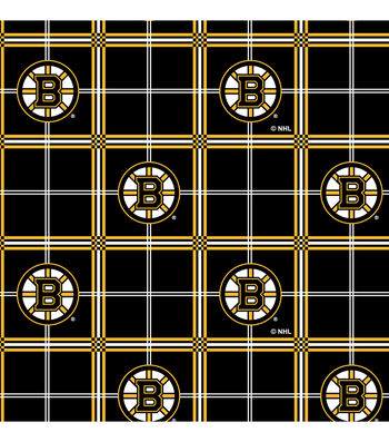 "Boston Bruins Flannel Fabric 44""-Plaid"