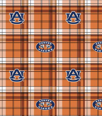 "Auburn University Tigers Fleece Fabric 58""-Plaid"