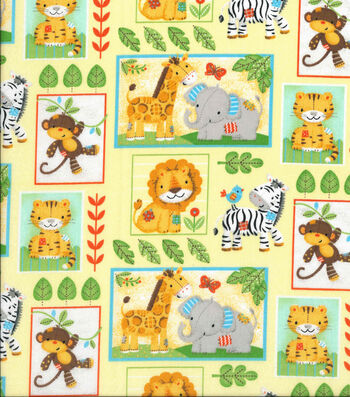 "Nursery Cotton Fabric 43""-Zoo Animal Blocks"
