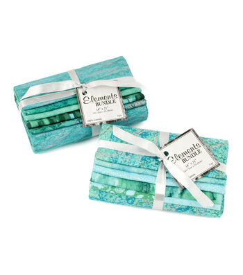 "Fat Quarter Bundle Cotton Fabric 18""-Turq/Teal Bundle"