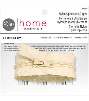 Dritz Home Nylon Upholstery Zipper Cream 18""