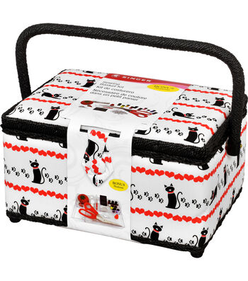Singer® Large Sewing Basket with Notions Kit-Pet Trax Kitty