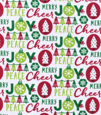 "Snuggle Flannel Fabric 42""-Cheer Joy Peace Merry"