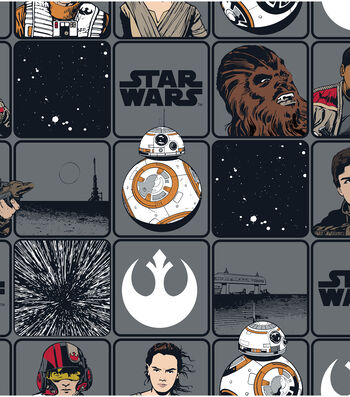 """Star Wars™: The Force Awakens Cotton Fabric 44""""-Heros in Squares"""