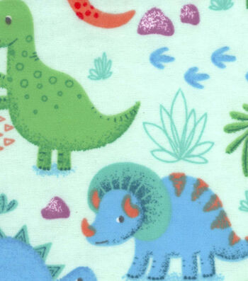 """Snuggle Flannel Fabric 42""""-Happy Dinos On Green"""