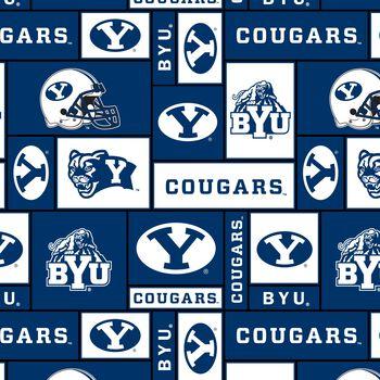 Brigham Young University Cougars Fleece Fabric 58''-Block