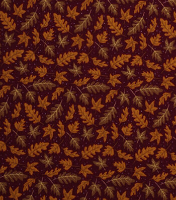 """Holiday Showcase™ Harvest Cotton Fabric 43""""-Tossed Leaves"""