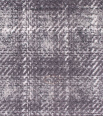 "3 Yard Pre-Cut Anti-Pill Fabric 59""-Distressed Plaid Gray"