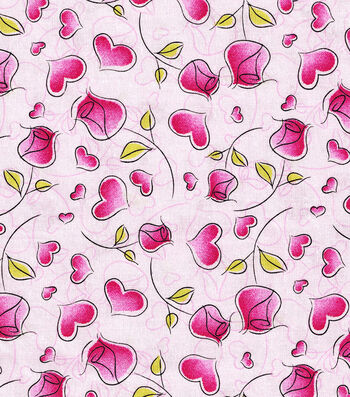 Valentine's Day Print Fabric 44''-Pink with Hearts & Roses