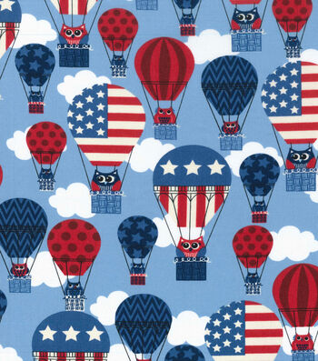 Patriotic Cotton Fabric 43''-Owls In Balloon