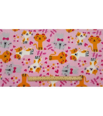 "3 Yard Pre-Cut Anti-Pill Fleece Fabric 59""-Happy Kitty"