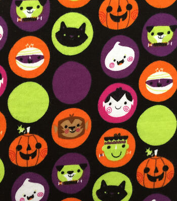 "Doodles Halloween Interlock Cotton Fabric 57""-Halloween Sticker Print"