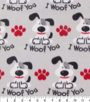 "Blizzard Fleece Fabric 59""-I Woof You"
