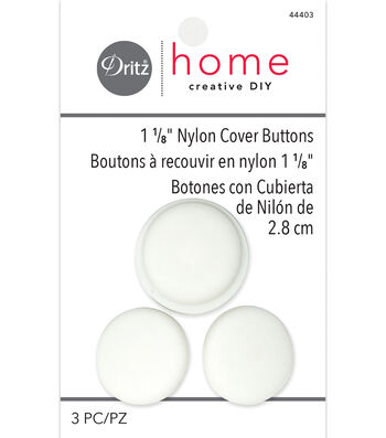 "Dritz Home 1.13"" Nylon Upholstery Cover Buttons Round 3pcs Size 45"
