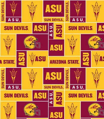 "Arizona State University Sun Devils Fleece Fabric 58""-Block"