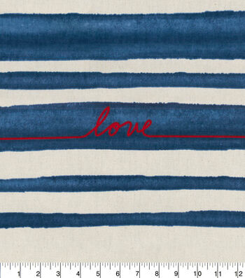 ED Ellen Degeneres Upholstery Fabric 27''-Love on Denim Stripe